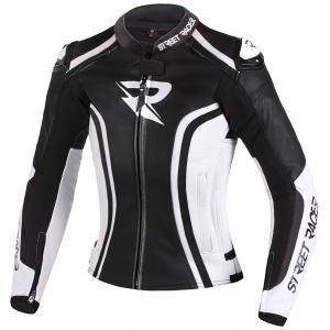 Damska skórzana kurtka motocyklowa Street Racer Electra czarno-biała