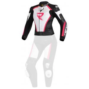 Damska skórzana kurtka motocylowa Street Racer Kiara czarno-biało-fluo różowa