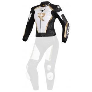 Damska skórzana kurtka motocyklowa Street Racer Kiara czarno-biało-złota - II. jakość