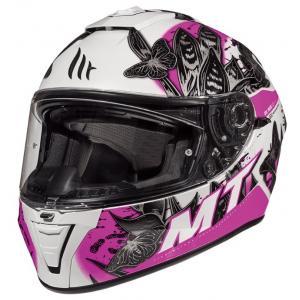 Damski integralny kask motocyklowy MT Blade 2 SV Breeze czarno-biało-różowy