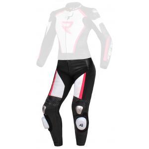 Damskie skórzane spodnie motocyklowe Street Racer Kiara czarno-biało-fluo różowe