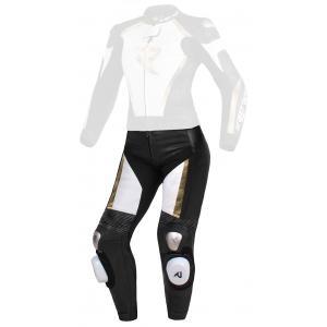 Damskie skórzane spodnie motocyklowe Street Racer Kiara czarno-biało-złote - II. jakość