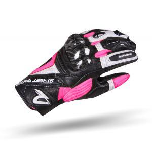 Damskie rękawice motocyklowe Street Racer XTR czarno-biało-różowe