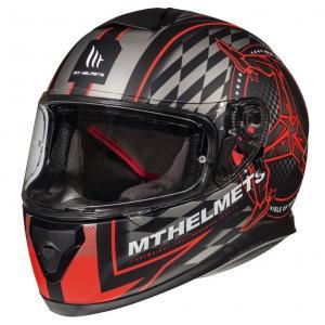 Integralny kask motocyklowy MT Thunder 3 SV Isle Of Man czarno-szaro-czerwony