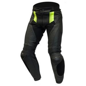 Skórzane spodnie motocyklowe Ozone Volt czarno-fluo żółte wyprzedaż