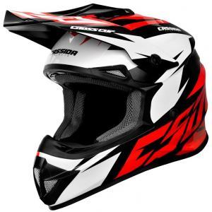 Motocrossowy kask Cassida Cross Cup Two czarno-biało-czerwony