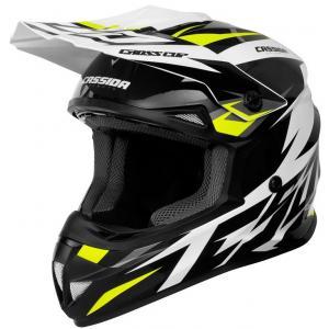 Motocrossowy kask Cassida Cross Cup Two czarno-biało-szaro-fluo żółty