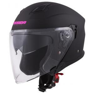 Otwarty kask motocyklowy Cassida Jet Tech czarno-różowy