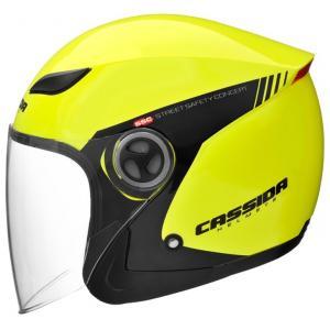Otwarty kask motocyklowy Cassida Reflex Safety czarno-fluo żółty