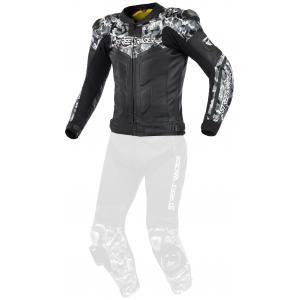 Skórzana kurtka motocyklowa Street Racer Pattern czarno-szara