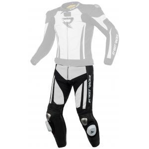 Skórzane spodnie motocyklowe Street Racer Fasttrack czarno-białe