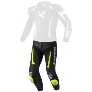Skórzane spodnie motocyklowe Street Racer Fasttrack czarno-biało-fluo żółte