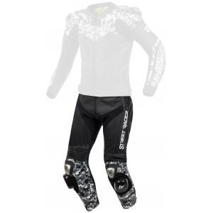 Skórzane spodnie motocyklowe Street Racer Pattern czarno-szare
