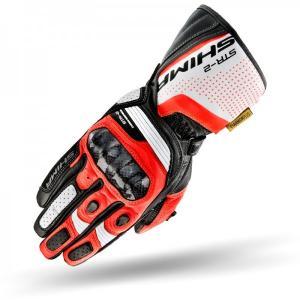 Rękawice motocyklowe Shima STR-2 czarno-biało-fluo czerwone