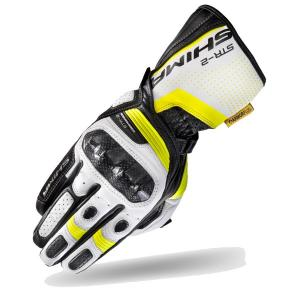 Rękawice motocyklowe Shima STR-2 czarno-biało-fluo żółte