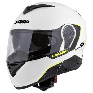 Szczękowy kask motocyklowy Cassida Compress 2.0 Refraction biało-czarno-fluo żółty