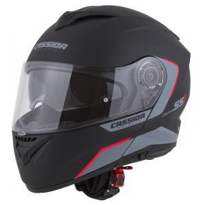 Szczękowy kask motocyklowy Cassida Compress 2.0 Refraction czarno-szaro-czerwony
