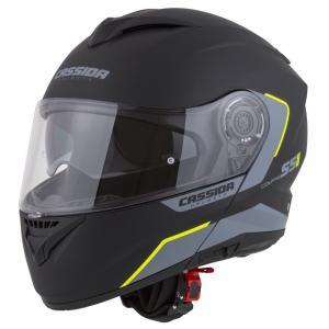 Szczękowy kask motocyklowy Cassida Compress 2.0 Refraction czarno-szaro-fluo żółty