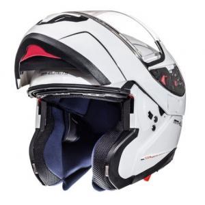Szczękowy kask motocyklowy MT Atom biały