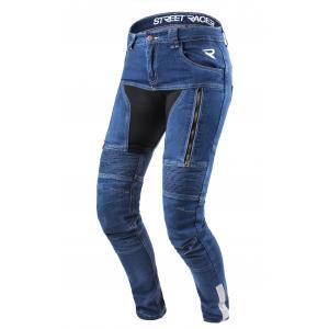 Damskie jeansy motocyklowe Street Racer Stretch niebieskie wyprzedaż