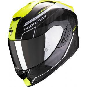 Integralny kask motocyklowy Scorpion EXO-1400 Carbon Air Beaux czarno-biało-fluo żółty