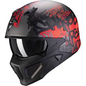 Kask motocyklowy Scorpion COVERT-X Wall srebrno-czerwony wyprzedaż