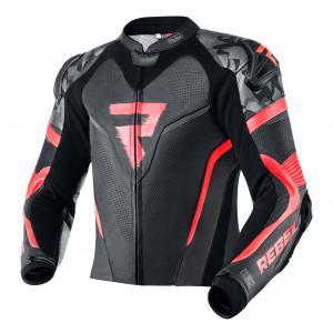 Skórzana kurtka motocyklowa Rebelhorn Rebel czarno-fluo czerwona