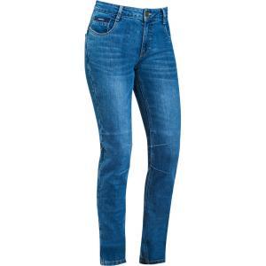 Damskie jeansy motocyklowe IXON Cathelyn wydarte niebieskie
