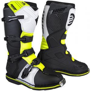 Dziecięce buty motocyklowe Shot K10 2.0 czarno-biało-fluo żółte