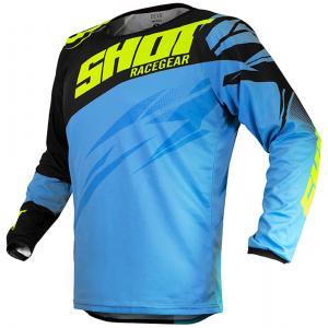 Dziecięca motocrossowa koszulka Shot Devo Ventury niebiesko-czarno-fluo żółta