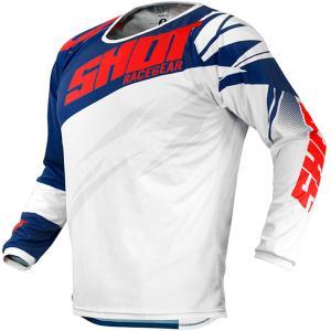 Dziecięca motocrossowa koszulka Shot Devo Ventury niebiesko-czerwono-biała