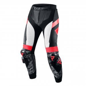 Skórzane spodnie motocyklowe Rebelhorn Rebel czarno-biało-fluo czerwone wyprzedaż