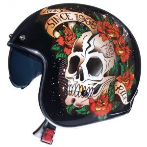 Otwarty kask motocyklowy MT LeMans 2 SV SKULL&ROSES czarno-czerwony