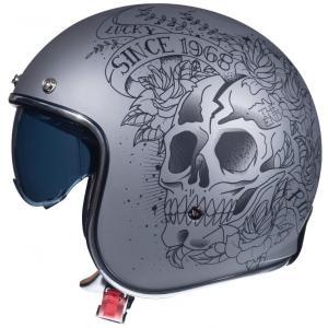 Otwarty kask motocyklowy MT LeMans 2 SV SKULL&ROSES szary matowy