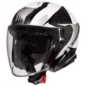 Otwarty kask motocyklowy MT Thunder 3 SV Wing czarno-biało-srebrny