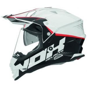 Enduro kask NOX N312 Crow biało-czarno-czerwony