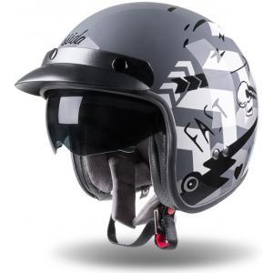 Otwarty kask motocyklowy Cassida Oxygen Badass szaro-biało-czarny