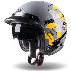 Otwarty kask motocyklowy Cassida Oxygen Badass szaro-czarno-żółty