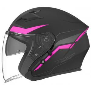 Otwarty kask motocyklowy NOX N127 Late czarno-różowy