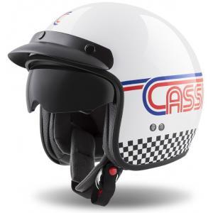 Otwarty kask motocyklowy Cassida Oxygen Rondo biało-niebiesko-czerwono-czarny