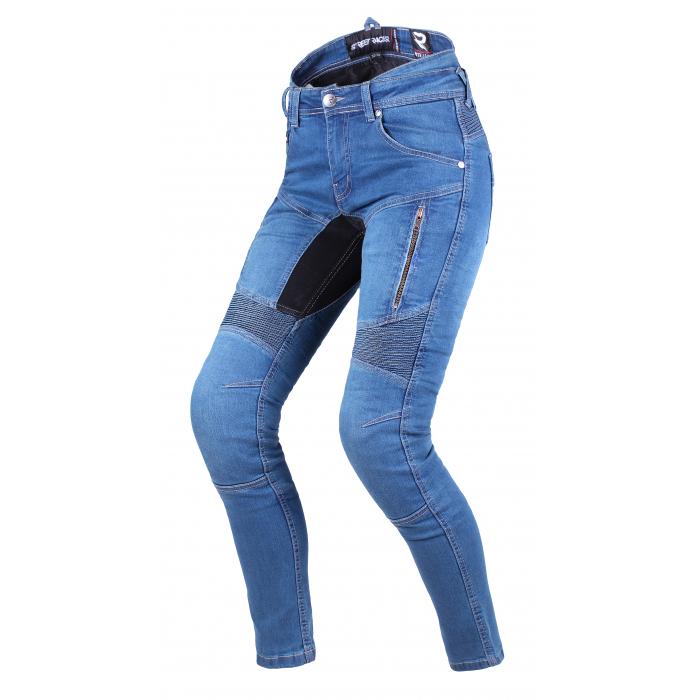 Damskie jeansy motocyklowe Street Racer Stretch II CE niebieskie