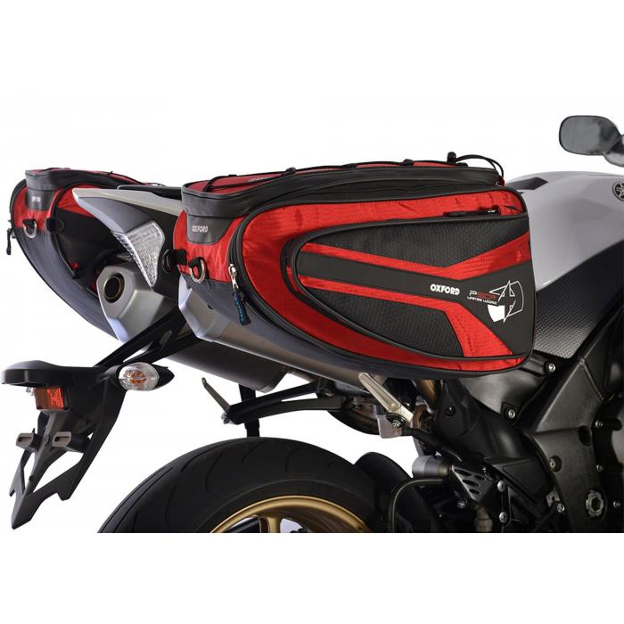 Sakwy boczne na motocykl Oxford P50R czarno-czerwone wyprzedaż