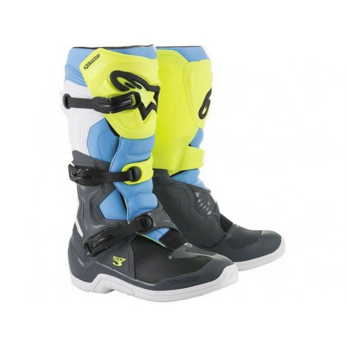 Buty motocyklowe Alpinestars Tech 3 czarno-biało-niebiesko-fluo żółte