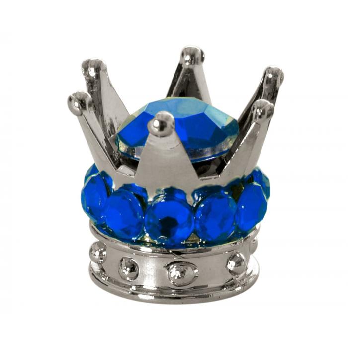 Nakrętki na wentyl Oxford Crown srebrno-niebieskie