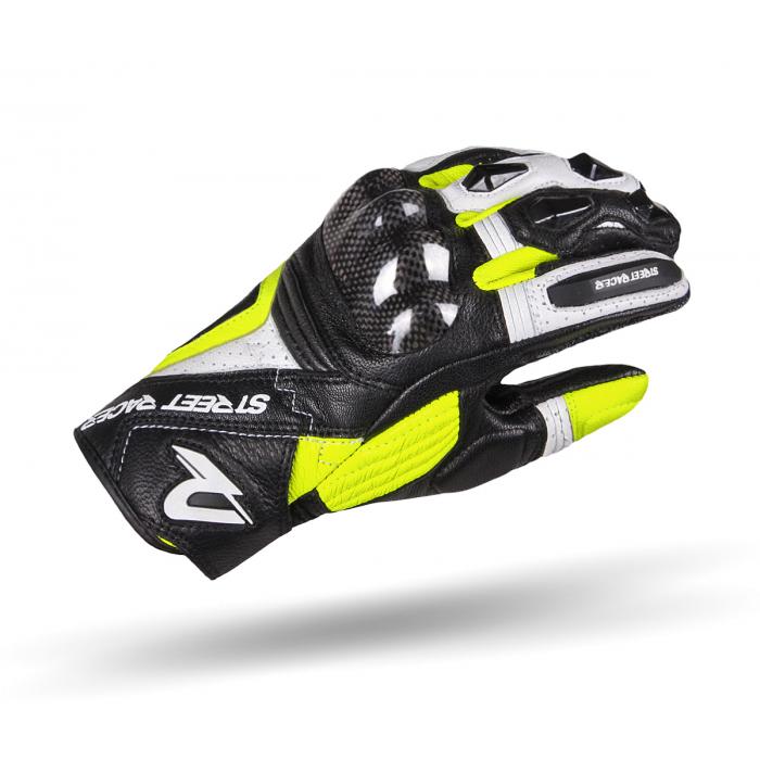 Damskie rękawice motocyklowe Street Racer XTR czarno-biało-fluo żółte