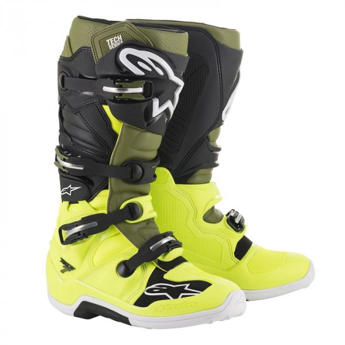 Dziecięce buty motocyklowe Alpinestars Tech 7 S czarno-zielono-fluo żółte