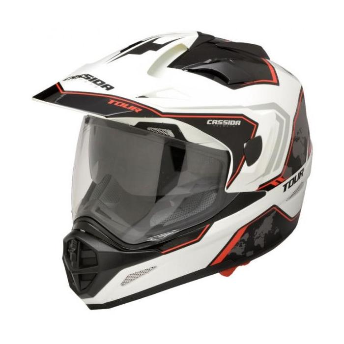 Enduro kask Cassida Tour Globe biało-czarno-czerwony