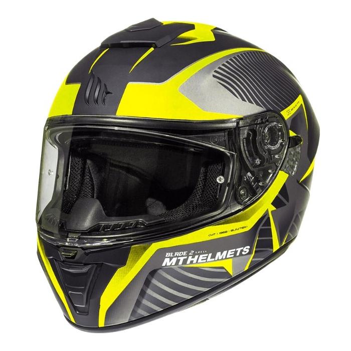 Integralny kask motocyklowy MT Blade 2 SV Blaster czarno-szaro-fluo żółty