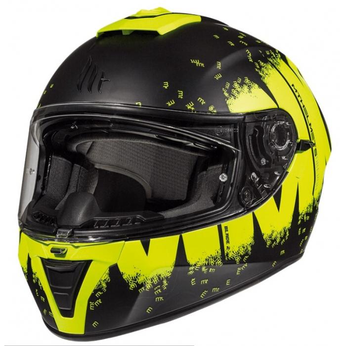 Integralny kask motocyklowy MT Blade 2 SV Oberon czarno-fluo żółty wyprzedaż