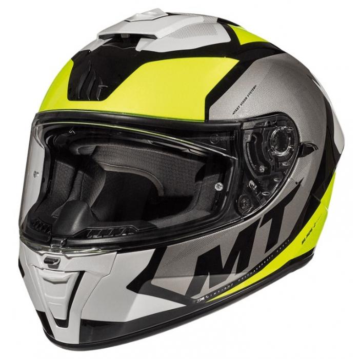 Integralny kask motocyklowy MT Blade 2 SV Trick biało-szaro-fluo żółty wyprzedaż